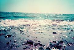 lsuc - seaspray (johnnytakespictures) Tags: lomo lomography lomochrome lomochromepurple purplexr film analogue 35mm disposable camera simpleuse purple colour xpro crossprocess crossprocessed seafront seaside ocean sea mersea merseaisland essex westmersea beach pebble pebbles foam froth tide sand horizon dof depthoffield seaspray spray summer sun sunshine holiday coast coastline