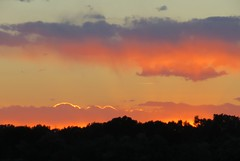 Alamosa Sunset (Patricia Henschen) Tags: alamosa colorado sunset clouds mountains summer sanluisvalley trees west golfcourse cattails