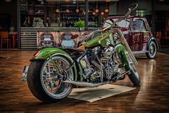 HARLEY DAVIDSON - rear view (Peter's HDR hobby pictures) Tags: petershdrstudio hdr harleydavidson motorbike custombike motorrad green grün chrom