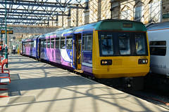 2018-07-03 @ Carlisle: 1N68 1446 Carlisle-Newcastle: 142020 [DSC_3124] (graeme9022) Tags: pacer railbus rail bus body leyland british railways northern blue purple lilac old livery border city north west england carlisle cumbria cumberland tyne valley local regional suburban passenger transport transportation service railcar citadel uk train station
