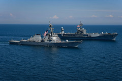 USS Porter and USS Mount Whitney sail in formation in the Black Sea during exercise Sea Breeze.