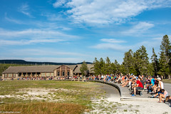 All of these people got the same dang shot of Old Faithful as I did. (Jim Frazier) Tags: 2018 201807montana 201807yellowstone geyser impatient jimfraziercom july mountains nationalpark nps oldfaithful people q2 rockymountains spectators summer tourists vacation visitorcenter waiting wyoming yellowstone instagram