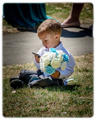 Hello, Interflora? (wollemigrape477) Tags: flowers pageboy wedding sunny sun outdoor shirt suit grass money lincolnshire weddingday portrait bottesford scunthorpe northlincolnshire nikon d7100 18300mm