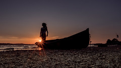 When the sun has set, no candle can replace it.-George R.R. Martin (Lorrainemorris) Tags: sundown mood artistic art creative colours yellow fun landscape lorrainemorris silhouette summer sunny sun starburst 1635mmzeiss sony loughowel zeiss sony7rm2 ireland lake boat sunset