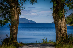 Wooden framed (Superali007) Tags: landscape lochness fortaugustus scotland scenic scottish water loch invernessshire highlands highland blue canon canon7d efs1585mmf3556isusm ecosse trees tree scenicsnotjustlandscapes sky framed nature