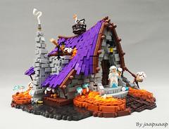 White lotus priest (jaapxaap) Tags: lego build moc by jaapxaap fantasy medieval house priest white lotus purple orange crazy