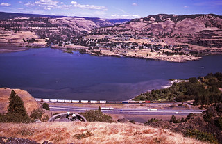 A trio of Union Pacific locomotives head an eastbound intermodal along the Columbia River valley past the public viewpoint at Rowena on 20August2000