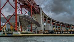 Lisbon, Portugal: Ponte 25 de Abril crossing the Tagus River Estuary (nabobswims) Tags: 25deabril aerialphotography bridge estuary hdr highdynamicrange ilce6000 lightroom lisboa lisbon nabob nabobswims pt photomatix ponte portugal riotejo sel18105g sonya6000 tagusriver