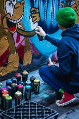 Hosiers Artist at Work (SemiXposed) Tags: melbourne cbd australia city outdoors winter street artist graffiti paint cans spray spraying working talent men guy
