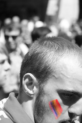 Rainbow paint boy, London Pride (John Wilder Photography) Tags: bw colour rainbow portrait londonpride