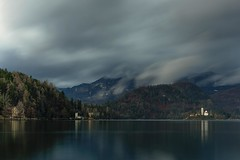 0796 A Church On The Lake III (Hrvoje Simich - gaZZda) Tags: noperson outdoors landscape sky clouds water lake pond reflections longexposure mountains forest trees building church travel bled slovenia europe nikon nikond750 nikkor283003556 gazzda hrvojesimich