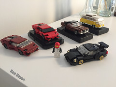 Full final line up (ron_dayes) Tags: lego cars supercar lamborghini porsche vw t1 ford mustang 72 minifig minifigure model modular city town
