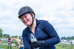 """""""So hot!"""" (HelwigPhotos) Tags: horse riding jump jumping woman happy sunny sports equestrian fence chestnut arabian tree pennsylvania barrel show champion action trailer travel shiny clean wash"""