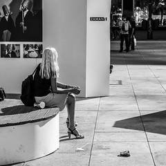 zaman - time in turkey (every pixel counts) Tags: 2013 berlin exhibition street capital city woman europa everypixelcounts blackandwhite 11 square zaman germany blond leg bag bolsa day mitte bench blackwhite eu alexanderplatz photography bn people art berlinalive bw back daylight pavement
