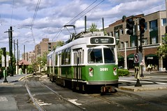 MBTA Type7 LRV 3691 BeaconSt Aug1989mr (ironmike9) Tags: mbta kinkisharyo type7 lrv trolley tram streetcar transit publictransit track rail lightrail bostonma clouds
