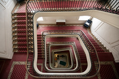 Anyone for bungy jumping? ((Ruud) Reddingius) Tags: contrexéville stairs red stairway depth france spiral