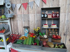 5. Fresh goods from the farm (Foxy Belle) Tags: farm stand farmers market diorama doll 16 playscale barbie blythe food produce shabby chic gray white miniature summer harvest dollhouse ooak craft barn grass outside yard store business country wood wooden paper