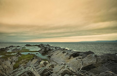 A Stormy Night on the Gulf of the St. Lawrence (SNAPShots by Patrick J. Whitfield) Tags: rocks sunset summer vacation hdr water sea ocean landscapes skies nature clouds detail texture patterns lines dof colours contrast shore outside canon