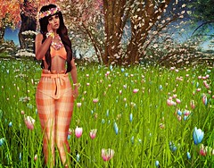 Flowers Ever! (kare Karas) Tags: woman lady femme girl girly sweet cute beauty pretty sensual seduce outdoors nature sunny july summer events virtual avatar secondlife game fun fashion style outfit top pants hair leilei jewelry seniha cosmopolitanevent firelight hearthsdalejewellery swankevent