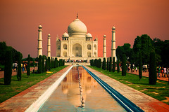 Taj Mahal (Katya_N) Tags: agra architecture buildingexterior classical colorimage dome history horizontal india internationallandmark marble mausoleum memories minaret monument nopeople orangesky outdoors photography reflection standingwater sunset tajmahal thepast traveldestinations tree unescoworldheritagesite whitecolor
