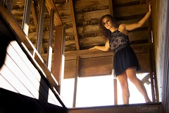 Maygen (austinspace) Tags: woman portrait spokane oakesdale washington redhead abandonedhouse palouse dress hills sunset dusk magichour summer