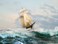 Das ewig brausende Meer (Photothomas85) Tags: ship water clouds fine art maritim ocean wave oil photoshop sky