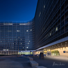 Berlaymont I (Alec Lux) Tags: architecture belgium berlaymont blue bluehour brussel brussels building city cityscape colorful colors contrast curves design european exterior lights lines modern night nightscape office offices outdoor outside parliament structure urban bruxelles be