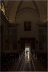 Blinded By The Light (Giovanni Giannandrea) Tags: sunbeams sunrays woman shaft chiesa san zenone e martino lazise lagodigarda italia doorway