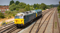 Class 50 no 50008 hauls a Class 45 at Trowell Junction on 26-07-2018 From Butterley to Orton Mere. (kevaruka) Tags: trowell trowelljunction nottinghamshire derbyshire toton ilkeston erewash july 2018 summer sun sunshine sunny sunnyday hot trains train locomotive class50 class45 voyager canon canoneos5dmk3 canon5dmk3 canon70200f28ismk2 canonef100400f4556l telephoto telephototrains 5d3 5diii 5d 5dmk3 composition flickr frontpage thephotographyblog colour colours color colors heritage historic blue yellow green networkrail britishrail