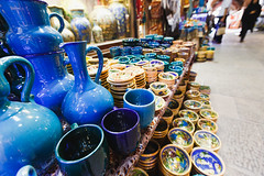 ISFAHAN, IRAN - OCTOBER 06, 2016: traditional iranian souvenirs in market (Bazaar) in Isfahan, Iran. Bazaar of Isfahan is the most important tourist attraction. (weroad_official) Tags: iran isfahan iranian bazaar market traditional persian street sale arabian persia style colorful city man trade east art decoration hand life textile shop store ethnic arabic made bargain bazar esfahan people lifestyle work metal men dirty asia plate dish economy arab brass muslim islamic allah shiite business outdoors souvenirs october