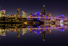 Duplication (Jared Beaney) Tags: canon6d canon australia travel photography photographer brisbane night brisbaneriver bridge reflections reflection duplicate cityscapes city queensland