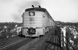 New Haven Railroad 3-unit set of 2 ALCO FA-1's & 1 FB-1, are seen as engine # 0429 leads a manifest freight train on the gauntlet track while crossing the Hudson River on the Poughkeepsie Bridge in New York State, ca 1949