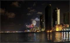 One night of 4th of July in the bay. (Aglez the city guy ☺) Tags: bay seashore cityscapes nitephotografy fireworks sea urbanexploration city lights urban walkingaround waterways biscaynebay midtown building outdoors