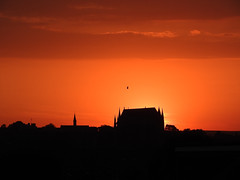 Ecclesiastical glow (crusader752) Tags: lancingcollegechapel gull seagull silhouettes sunset clouds spires spire flyingbuttress lancing sussex southdowns