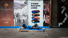 Spaces Available? (Sean Batten) Tags: london england uk europe soho streetphotography street city urban nikon d800 35mm homeless pavement sleeping person adverts
