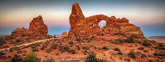 Turret Arch - Sunrise v Moonset (Mike Filippoff) Tags: arches nikonflickraward utah turretarch landscape moonset earth shadow desert park sky