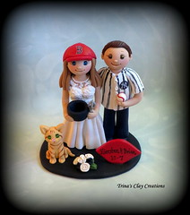 Wedding Cake Topper (Trina's Clay Creations) Tags: art sculpture weddingcaketopper wedding whimsical weddingcake weddingdecor caketopper customcaketopper clayfigure claycaketopper trinasclaycreations trinaprenzi topper groomscake polymerclay personalized