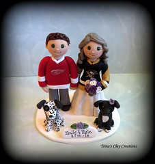 Sports Theme Wedding Cake Topper (Trina's Clay Creations) Tags: art sculpture weddingcaketopper wedding whimsical weddingcake weddingdecor caketopper customcaketopper clayfigure claycaketopper trinasclaycreations trinaprenzi topper groomscake polymerclay personalized