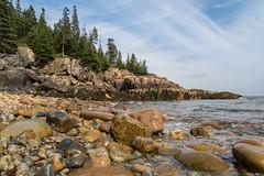 Happy Place ({Brinkervelt}) Tags: maine mtdesertisland rocks water clouds sky blue beautiful beach shore shoreline nature landscape seascape waves trees light sunlight
