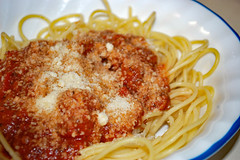 Bowl Of Spaghetti With Parmesan Cheese. (dccradio) Tags: lumberton nc northcarolina robesoncounty indoors indoor inside food eat supper dinner meal lunch corelle bowl spaghetti parmesan parmesancheese sauce tomatosauce meatsauce spaghettisauce noodles spaghettinoodles nikon d40 dslr