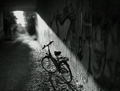 7:19pm (Amselchen) Tags: bicycle mono monochrome bnw blackandwhite light shadow bokehpano bokehpanorama bokeh blur dof depthoffield sony a7rii sonyilce7rm2 samyang 85mmf14