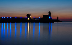 New Old quay lights (Alf Branch) Tags: westcumbria water whitehaven sea seaside seascape seashore cumbria calmwater bluehour dusk irishsea sunset summer alfbranch zuiko zuiko1240mmf28pro olympus omd olympusomdem5mkii