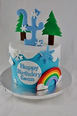 Rainbow snow birthday cake (jennywenny) Tags: rainbow birthday frozen snow blue snowflake