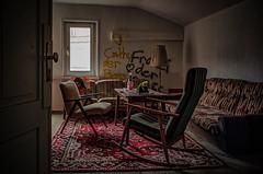 abandoned Hotel living room under the roof (Peter's HDR-Studio) Tags: petershdrstudio hdr lostplace abandonedarmchair abandonedhotel abandonedhotelappartement roof verlasseneshotel verlasseneplätze verlasseneshotelzimmer window fenster