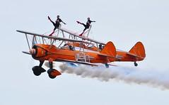 SE-BOG (1) and N74189 (2) (goweravig) Tags: sebog 1 n74189 2 swanseaairport wnas18 visiting aircraft aerosuperbatics wingwalkers swansea wales uk biplane boeing stearman kaydet