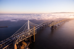New vs. Old Bay Bidge (tobyharriman) Tags: 2014 above adventure aerial aerialphotographer art artist attractions bay bayarea baybridge beautiful california canon city cityscape clear colorful custom fineart flying fog goldengatebridge helicopter landscape newbaybridge oaklandbaybridge ocean october oldbaybrisge outdoor pacificnorthwest photographer photography photos pictures prints r22 robinson sanfrancisco sanfranciscophotography scenic sf skyline sunrise timelapsepictures tobyharriman travel visit weather unitedstates us