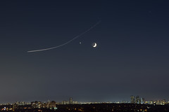 The Moon, Venus and a Jet (scott3eh) Tags: moon venus jet plane space planets cool