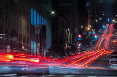 late night pine street traffic (pbo31) Tags: sanfrancisco california nikon d810 color july 2018 summer boury pbo31 city night dark black lightstream roadway street financialdistrict urban traffic motion pinestreet red sign motionblur infinity