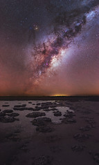 Milky Way over the Stromatolites of Lake Thetis in Western Australia (inefekt69) Tags: milkyway skytracker ioptron cosmology southernhemisphere cosmos southern westernaustralia australia dslr long exposure rural nightphotography nikon stars astronomy space galaxy astrophotography outdoor milky way core great rift 35mm d5500 panorama stitched mosaic nature landscape msice sky night cervantes lakethetis lake water reflections stromatolites thrombolites explore explored