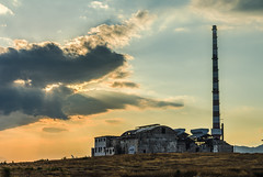 Lipasmata Factory  (HDR) (panos_adgr) Tags: nikon d7200 lipasmata drapetsona attica greece abandoned factory industrial landscape sunset clouds sky grass building decay hill structures hdr